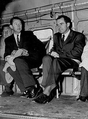 """Herb Klein and Vice President Richard Nixon, 1959. Klein could be seen hovering in the background as the failed candidate uttered his famous line in 1962, """"You won't have Nixon to kick around anymore."""""""