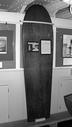 "Ralph Noisat's surfboard. ""He always talked about the wood being koa,"""