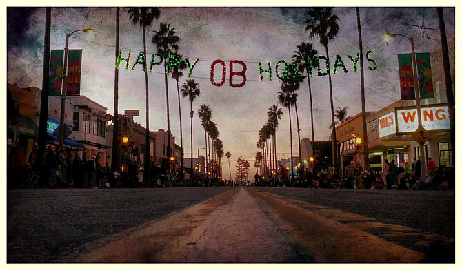The magic hour before the holiday parade on Newport Avenue - Ocean Beach