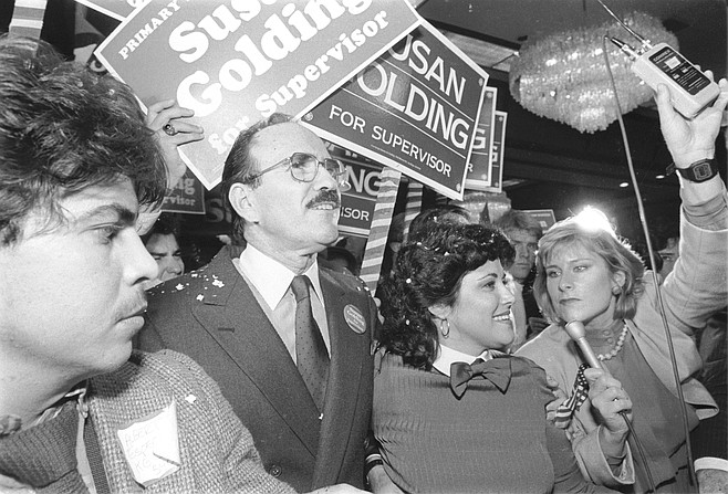 Richard Silberman and Susan Golding. Golding's campaign for county supervisor was financed by her husband, Silberman, Helen Copley's steady date of a decade before.