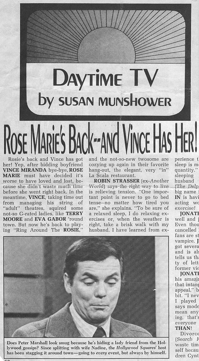 """Miranda was reportedly thrilled at this mention in a 1972 issue of L.A.'s Daytime TV magazine: """"Rosie's back and Vince has got her! """""""