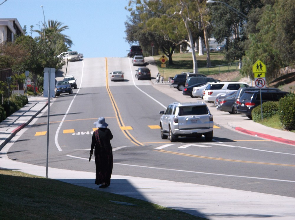 The speed bump ought to slow down drivers at the bottom of the hill.