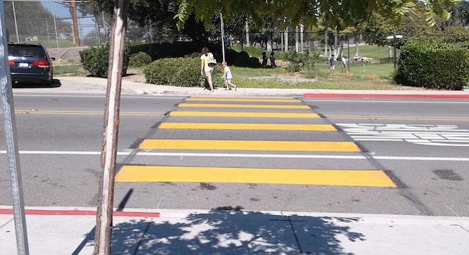 New crosswalk at Mary Lanyon Fay Elementary School