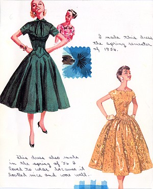 When she was 19, she sewed two narrow-waisted, full-skirted dresses.