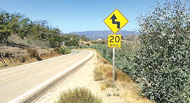 The curvy road from Fallbrook to De Luz is posted at 20mph.