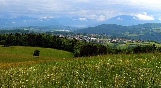 Hiking through the alpine Haute-Savoie countryside.