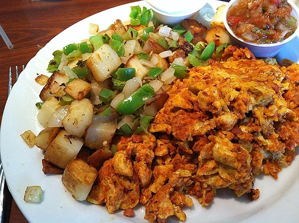 Chorizo/scrambled egg mashup at the Lakeside Café