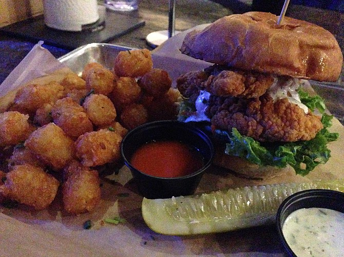 Buttermilk fried chicken sandwich and tots