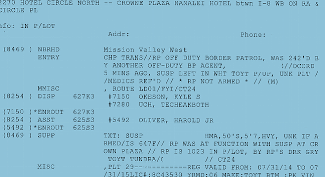 Portion of police report