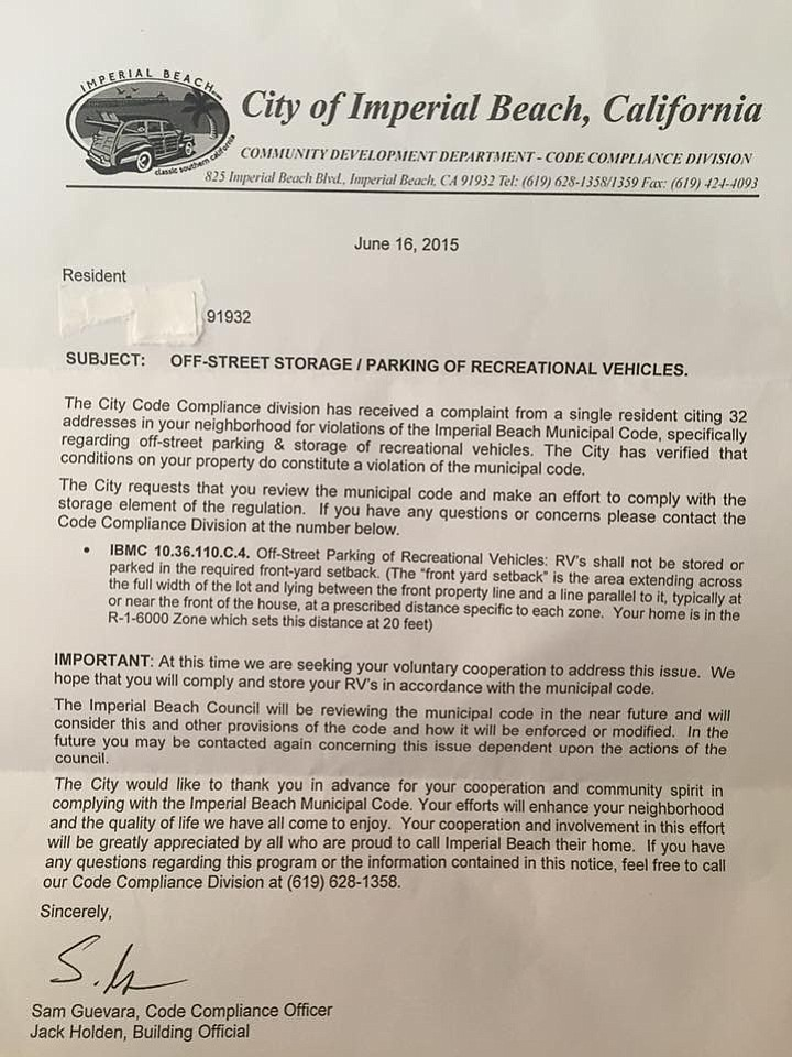 Warning letter sent to Imperial Beach residents