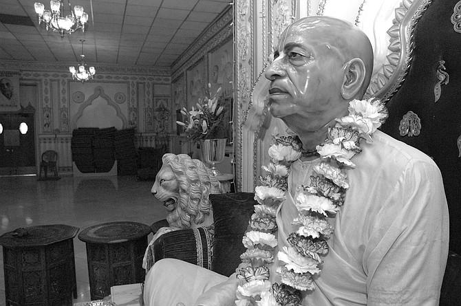 "Statue Swami Prabhupada, Pacific Beach Temple. ""Before I go to bed, I listen to Prabhupada's prayers and chanting.""  - Image by Chris Woo"