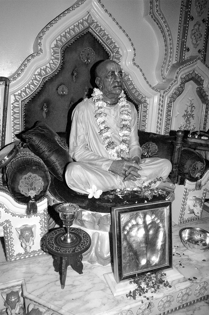 """Statue of Swami Prabhupada, Pacific Beach Temple. """"Prabhupada said there's no such thing as bad publicity."""""""