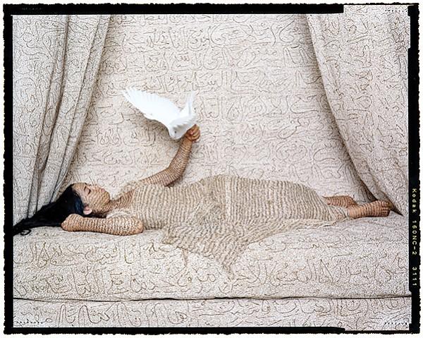Lalla Essaydi, Les Femmes du Maroc-La Sultane, 2008. Chromogenic Print. - Image by ©Lalla Essaydi, courtesy Jenkins Johnson Gallery, San Francisco, and Edwynn Houk Gallery, New York