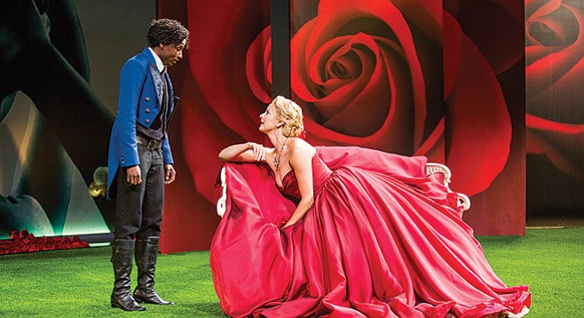 In the Globe's production of Twelfth Night, the stage becomes a Valentine's Day blur of reds.