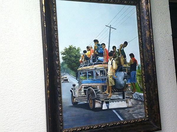 Painting of Filipino jitney scene