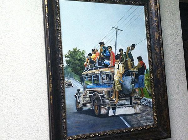 Painting of Filipino jitney scene