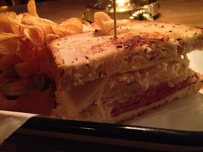 """Pastrami and an earthy Swiss on rye with a """"special sauce"""" that almost certainly features dill"""