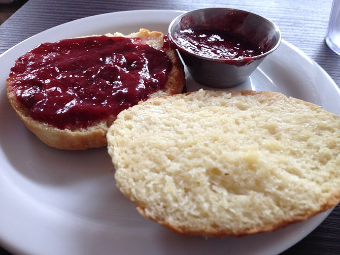 The strawberry basil jam does its best to save the meal.