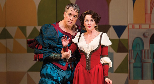 Mike McGowan as Petruchio and Anastasia Barzee as Kate in the Old Globe co-production of Kiss Me, Kate.