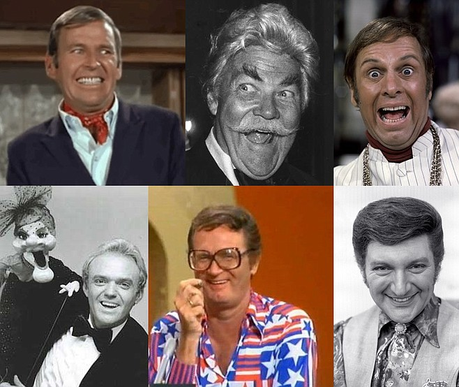 The Ambiguous Queens of Prime Time TV, clockwise from top left: Paul Lynde, Rip Taylor, Alan Sues, Wayland Flowers (with Madame), Charles Nelson Reilly, and Liberace.