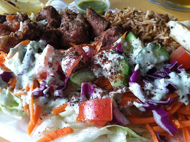 Lamb and salad platter