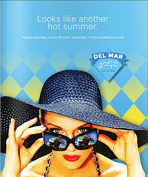 Del Mar ad featuring this year's odds-on favorite.