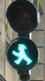 "The ampelmann wears a hat in ""East"" Berlin."