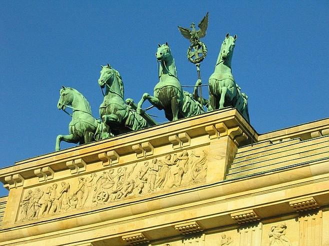Blue sky above the Brandenburg Gate.
