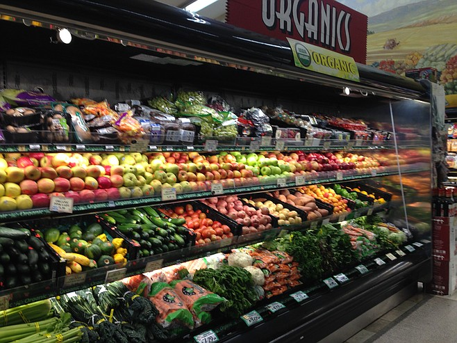 The organic section (the conventionally grown produce section is larger)