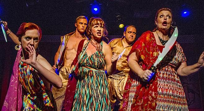 Rae K. Hendersen, Erik Dugan, Melissa Fernandes, Michael Parrott, Devlin in Eternally Bad at Moxie Theatre