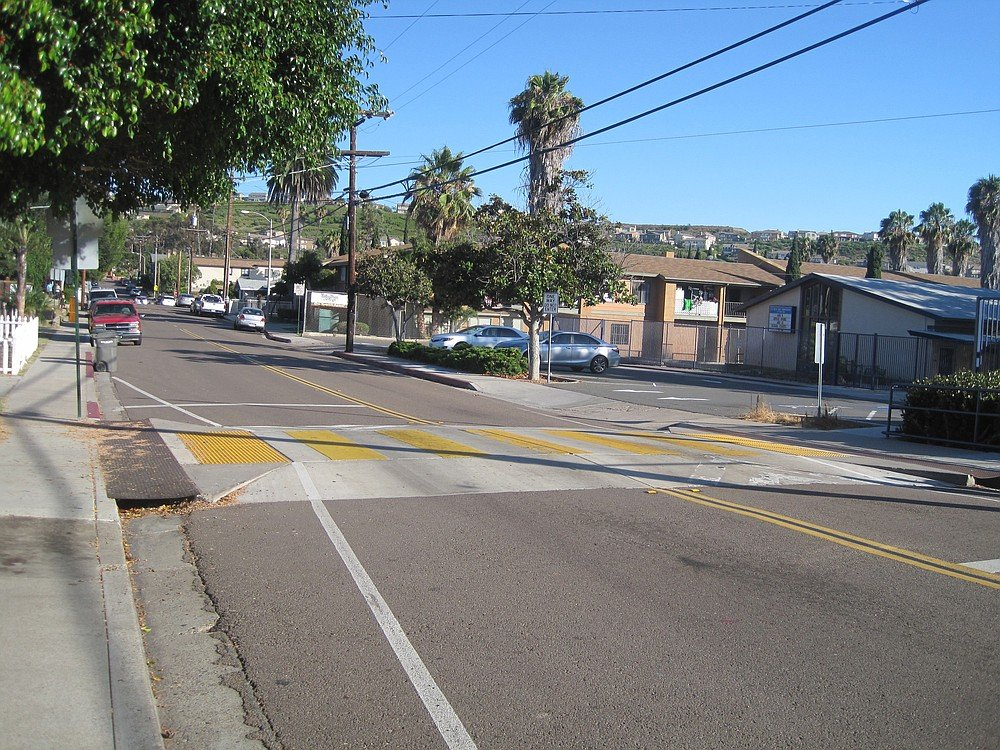 Speed table in the crosswalk in front of La Mesa Dale Elementary School, 4370 Parks Avenue