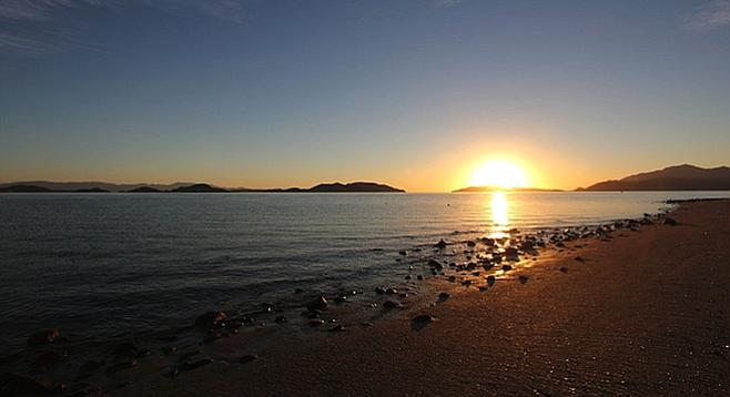Sunrise in Baja's Bahia de los Angeles, nine hours south of San Diego.