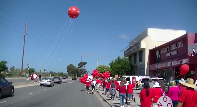 That balloon marks 60' - the height where San Diego's planners and developers want to build.
