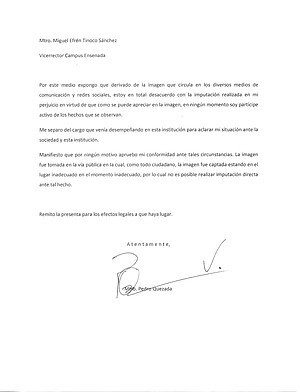 Letter of resignation presumed to be signed by Pedro Vázquez