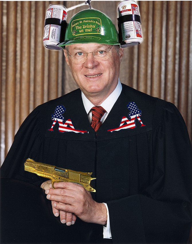 Section of artist's interpretation of Justice Kennedy's original Supreme Court portrait.