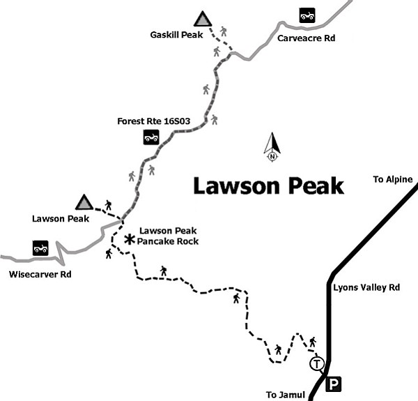 Map to Lawson Peak