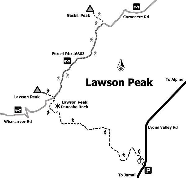 Map to Lawson Peak