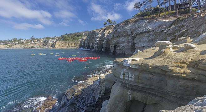 Kayaks at the La Jolla Caves