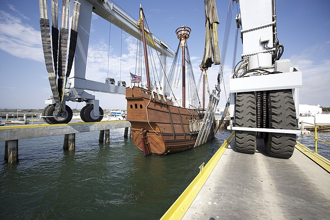 San Salvador gets ready for its bath. Photo by Jerry Soto, San Diego Maritime Museum