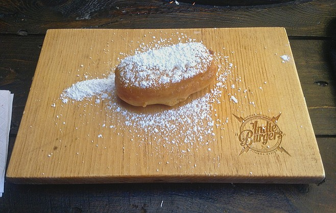 Deep-fried Twinkie covered with powdered sugar