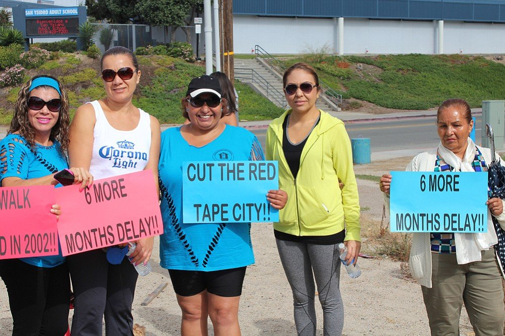 """Protesters are asking the city to """"cut the red tape"""""""