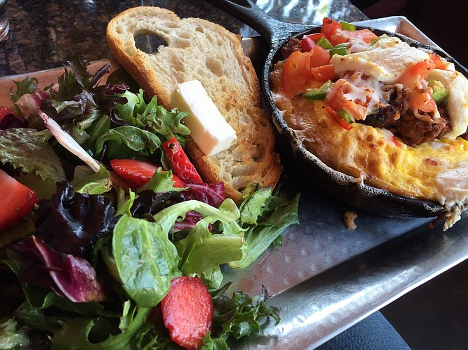 Steak Cast Iron Omelette with house salad