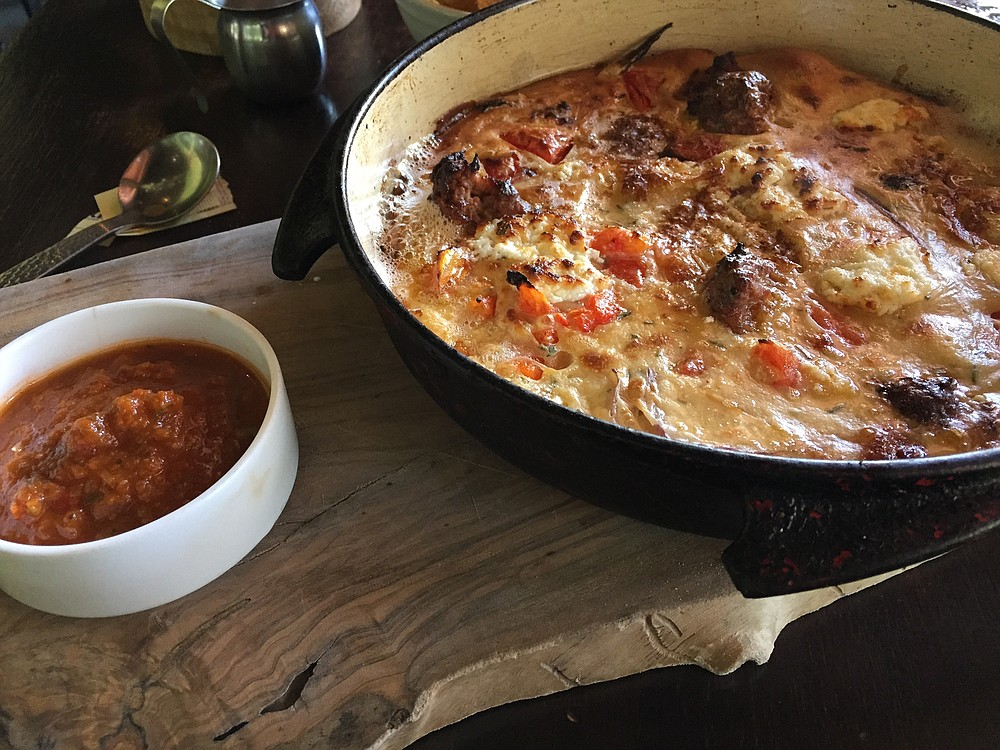Dutch-style pancake with lamb kofta