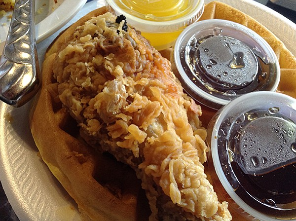 What took the bill up to $22: the $5.99 chicken and waffle special