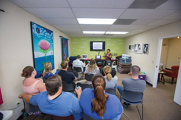 Helms teaches a class at the Birth Education Center of San Diego in Mira Mesa