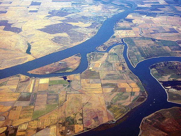 The Delta viewed from above Sherman Island, with the Sacramento River above and San Joaquin River below