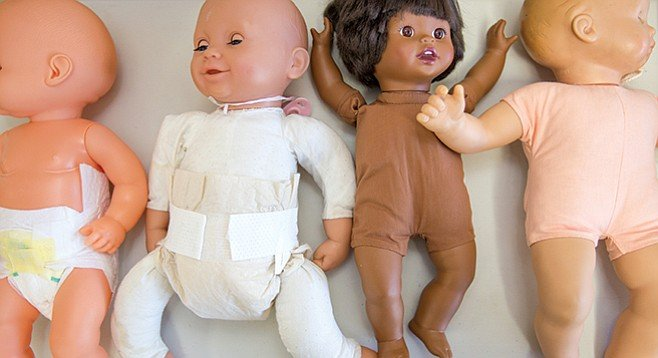 Diaper dolls from a birthing class - Image by Andy Boyd