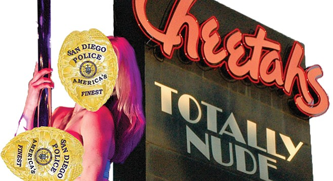Strip club alleges police presence inhibits dancers, intimidates patrons, ruins business.