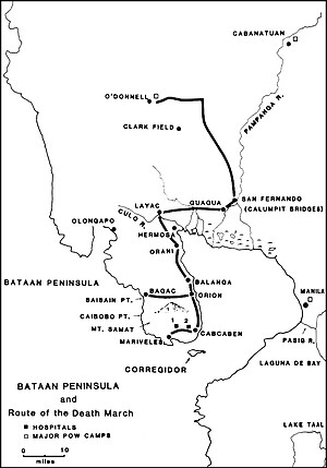 The 63-mile-long Bataan Death March began April 9, 1942, with 70,000 American and Filipino  POWs; 7000 to 10,000 died