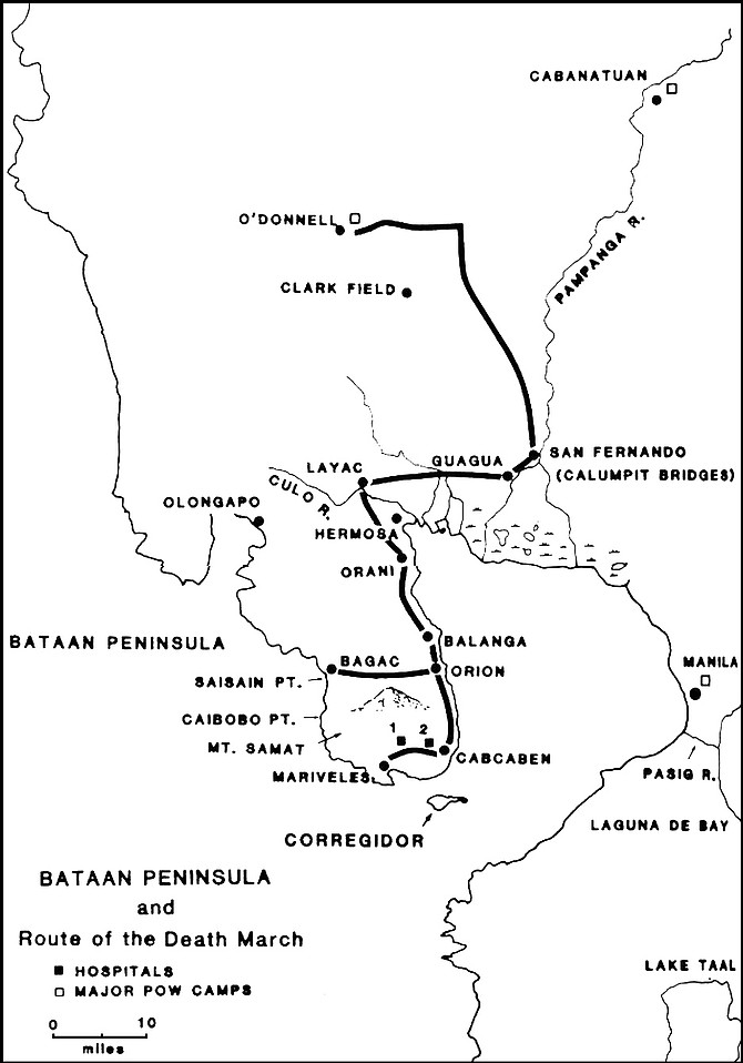 The 63-mile-long Bataan Death March began April 9, 1942, with 70,000 American and Filipino 